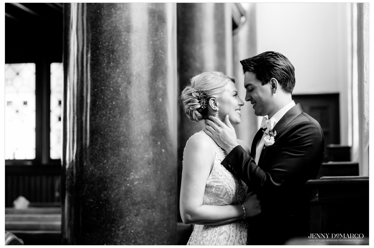 Bride and groom about to kiss at central christian church