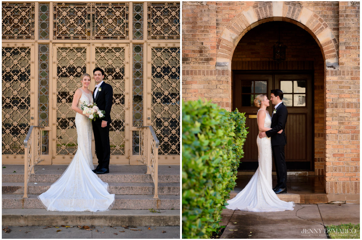 bride and groom posing in the courtyard of central christian church