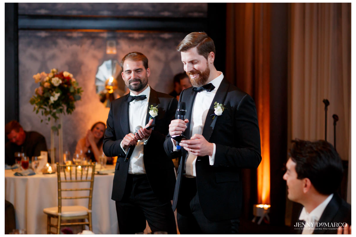 groomsmen giving toasts to the bride and groom