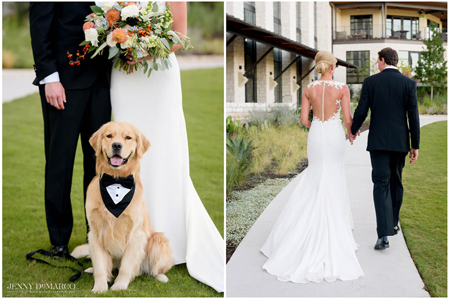 The bride and groom with their dog in a tux collar.