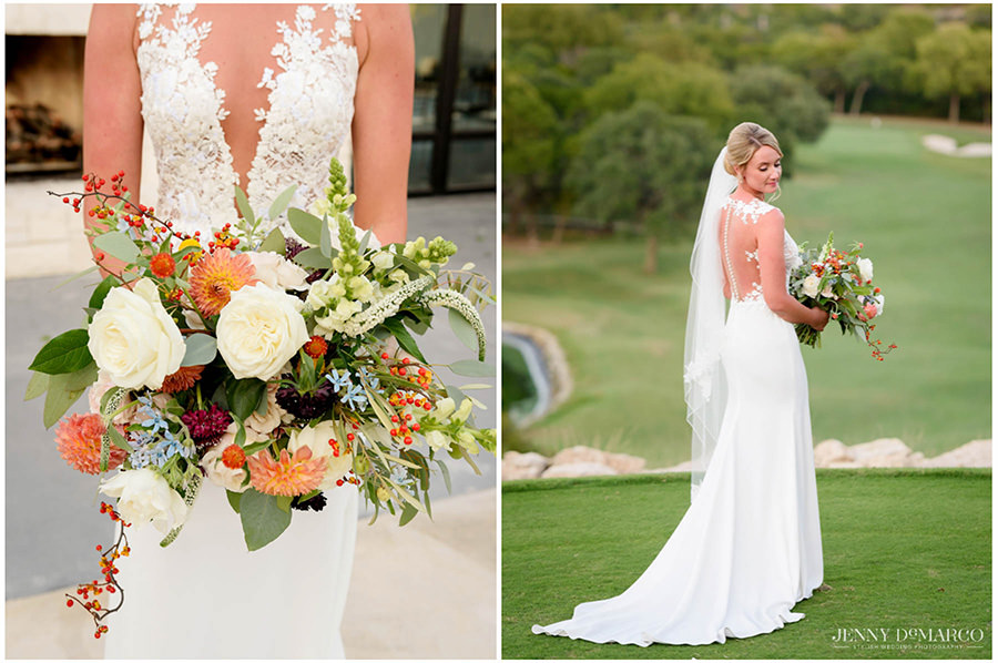 The bride's bouquet with white and orange accents.