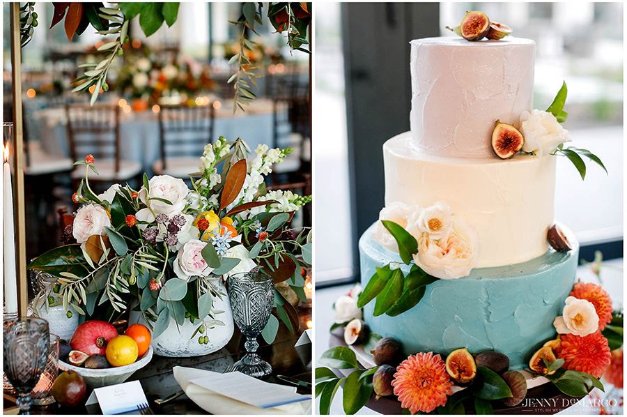 Wedding cake with three levels and pastel colors.
