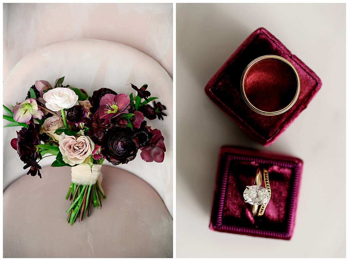 dark red and white wedding flowers and gold diamond engagement ring