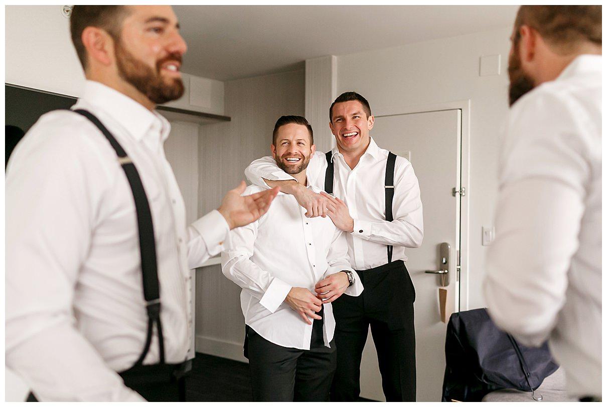 groomsmen celebrating before the wedding
