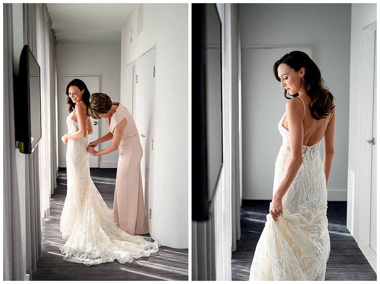 white lace detailed wedding dress