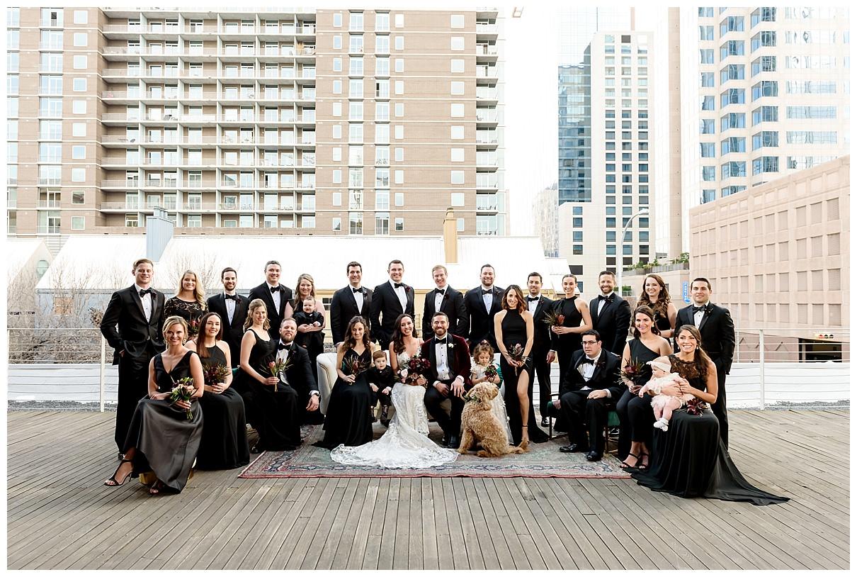 big wedding party, black bridesmaid dresses