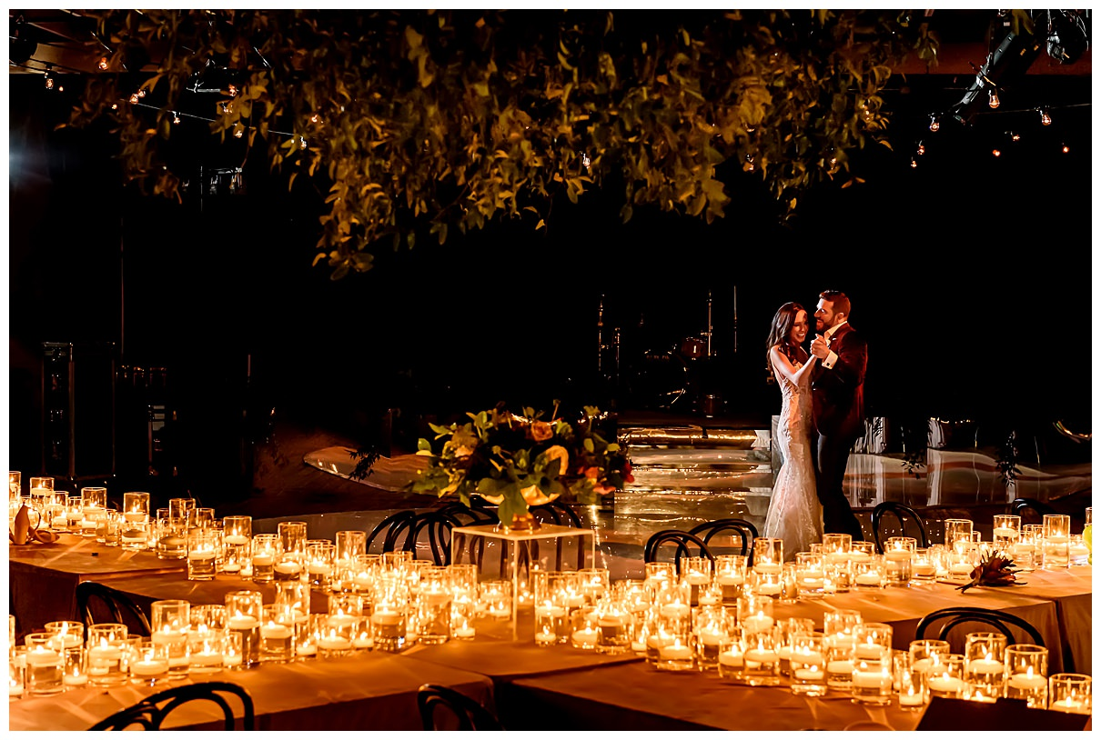 bride and groom candlelit first dance