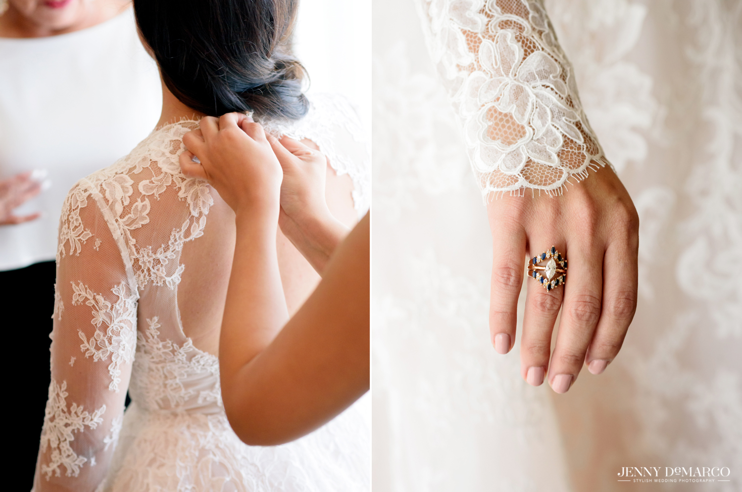 Bride putting on her lace wedding dress and bride's sapphire and diamond engagement ring
