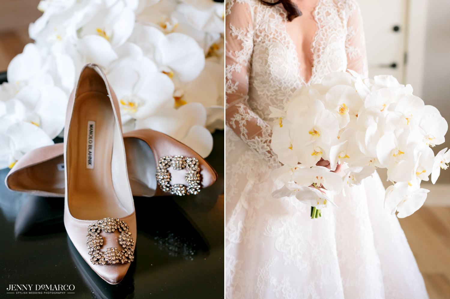 Bride's nude embellished heels and her white calla lilly bouquet