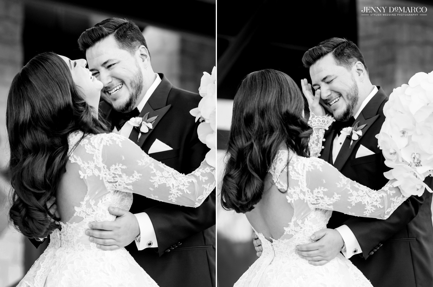 bride and groom hugging and bride wiping tears off of the grooms face