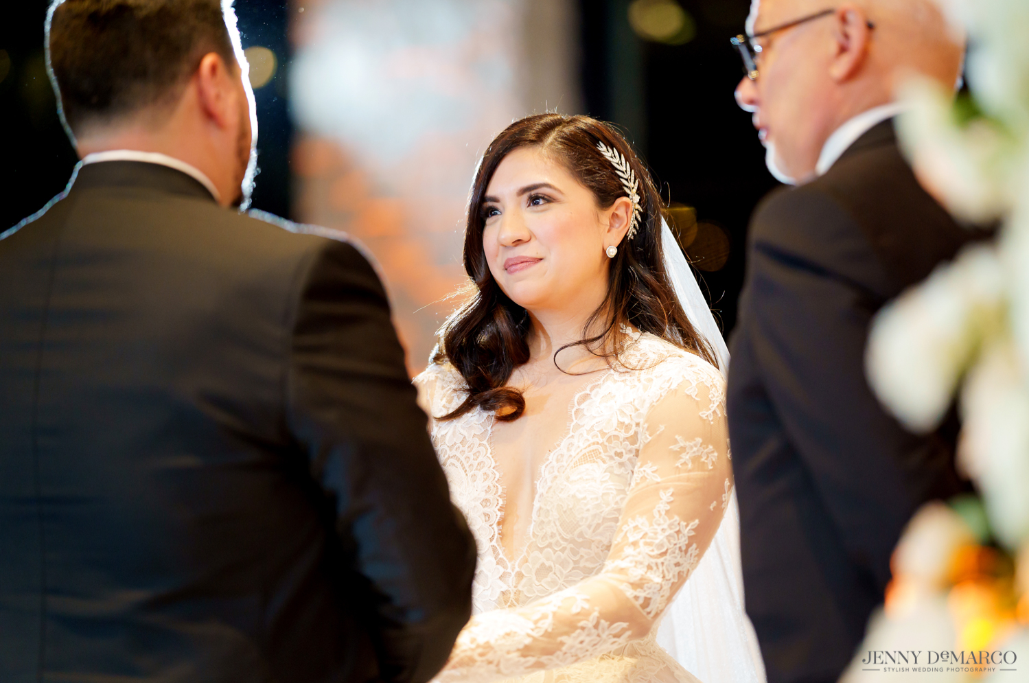 the bride looking lovingly at her groom