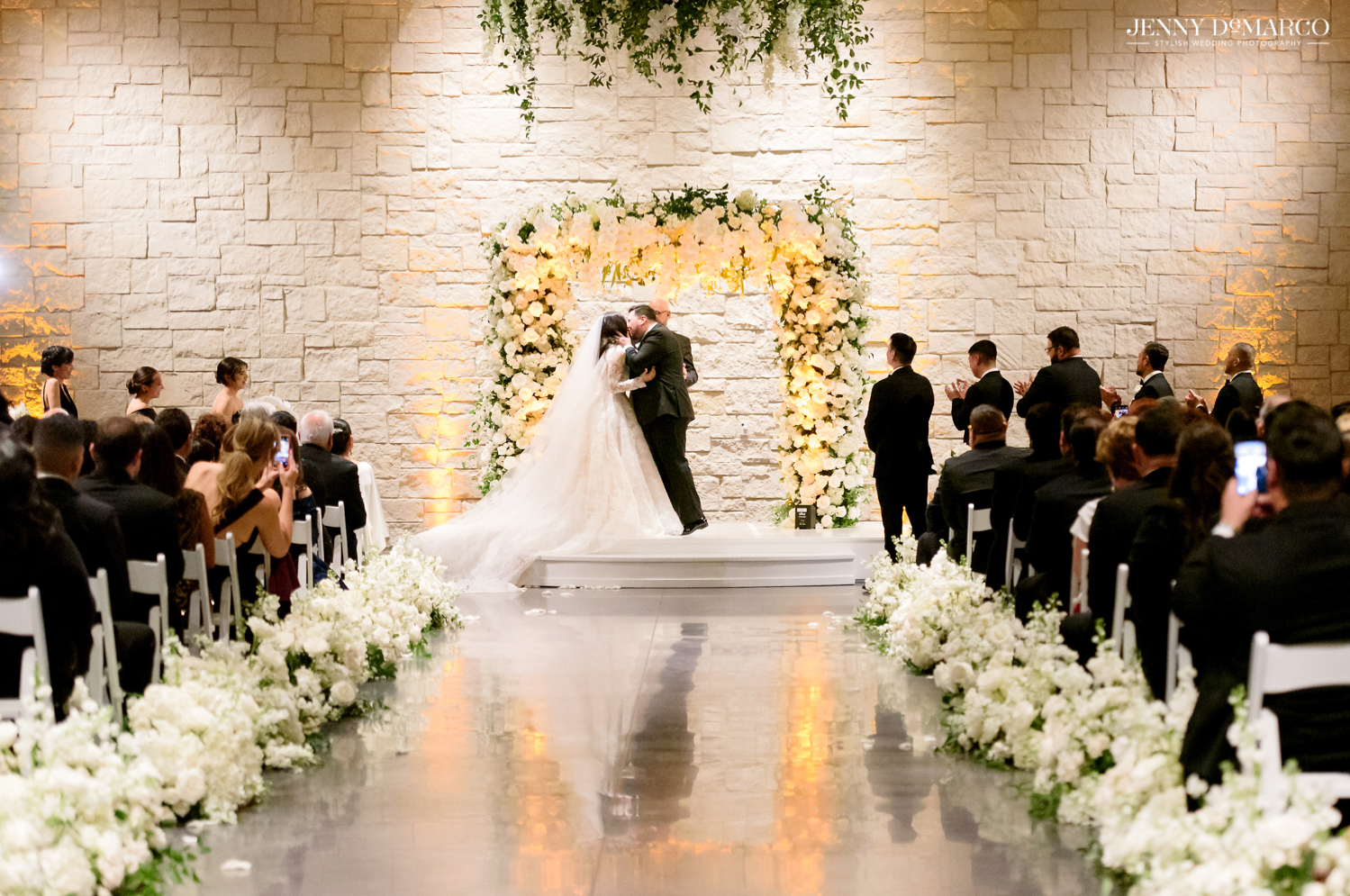 bride and groom kissing at the end of the ceremony!
