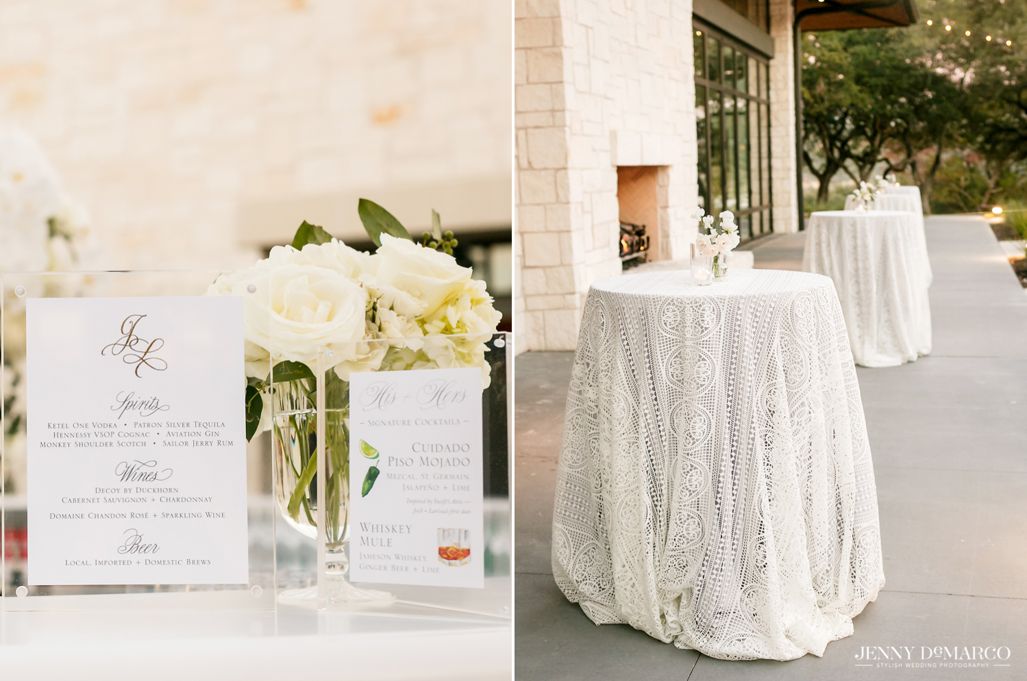 bar menu and beautiful white lace tablecloths for the reception