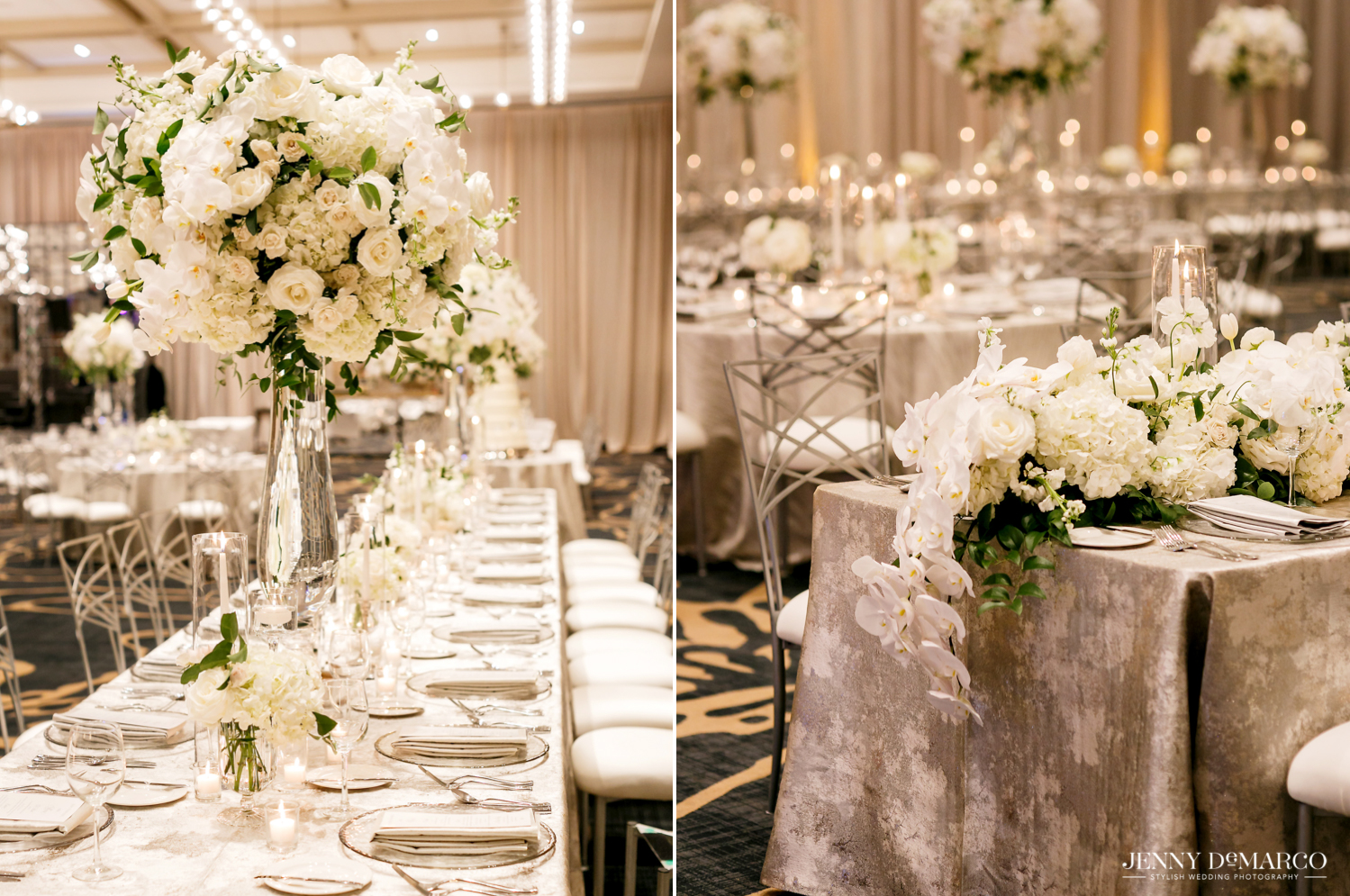 reception dinner table settings with beautiful white flower bouquets