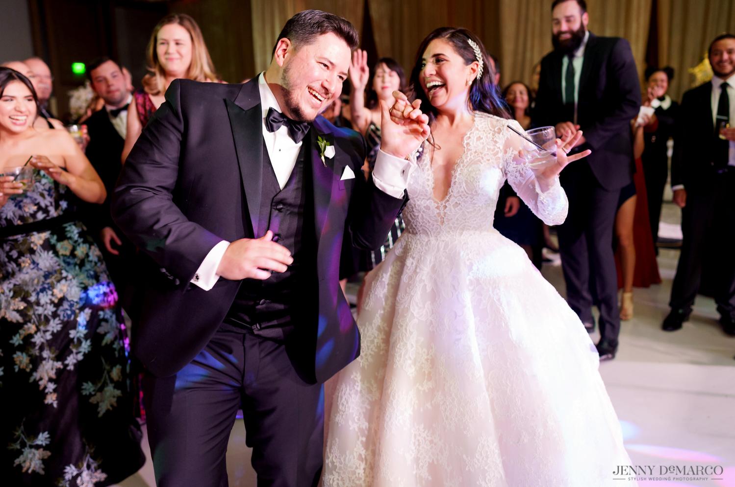 bride and groom dancing a the wedding reception