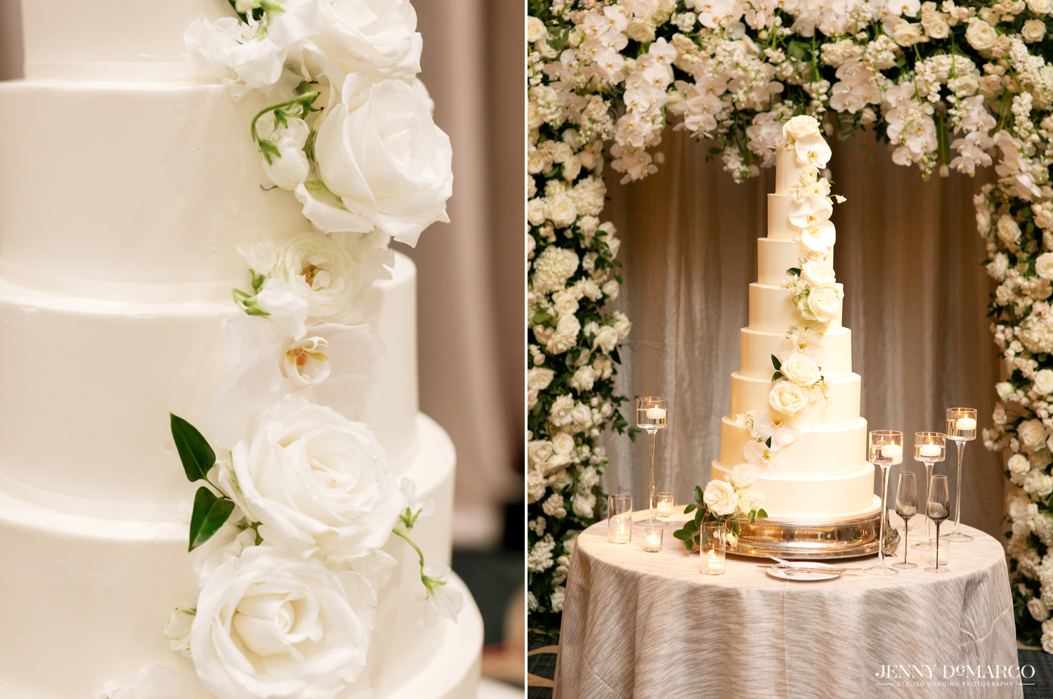 eight layer wedding cake with beautiful flower details on the side