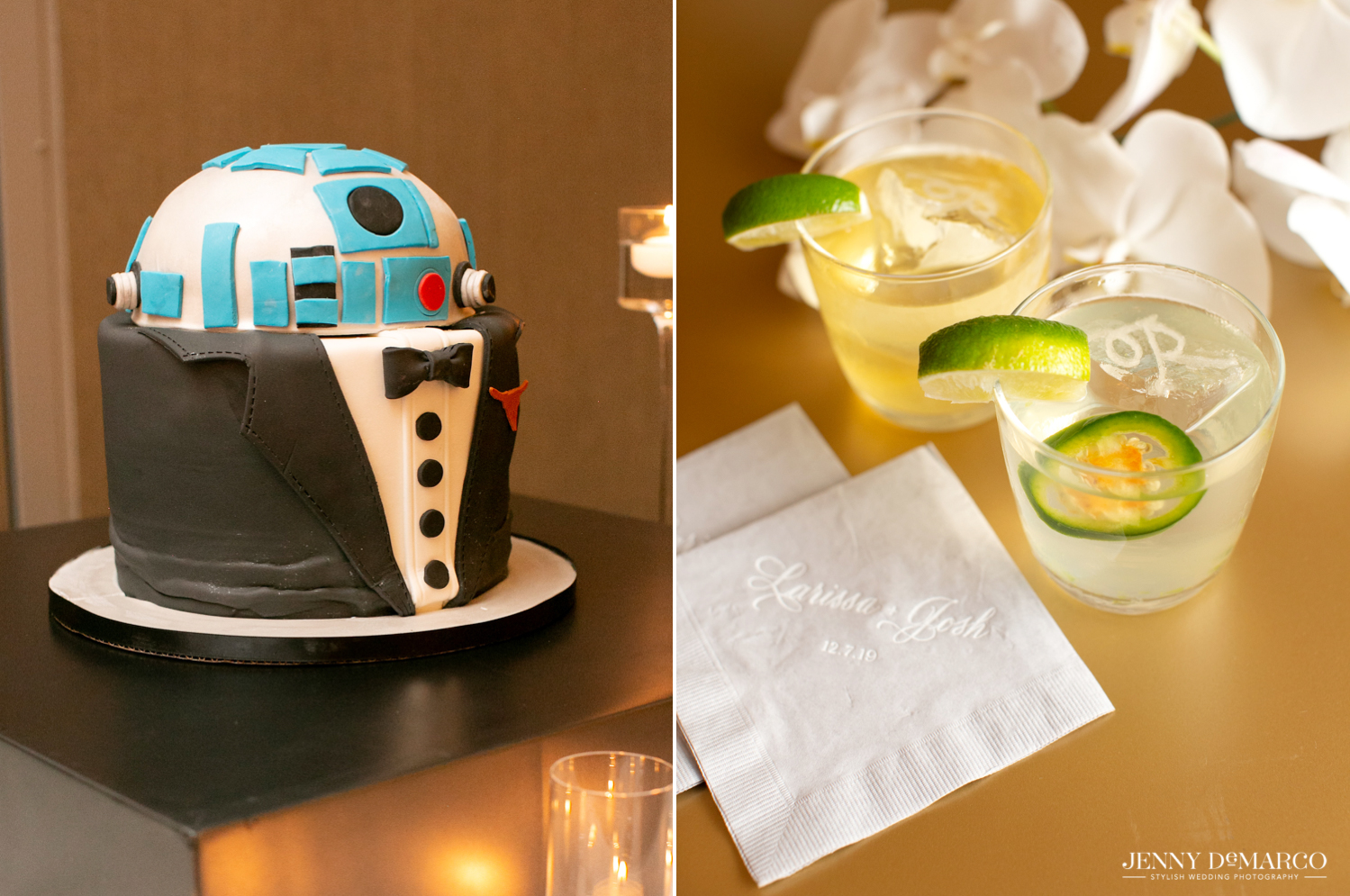 star wars themed grooms cake with the signature cocktails of the night