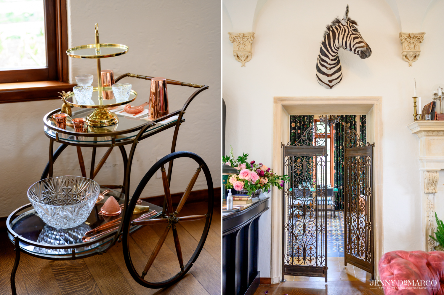 Bar Cart and mounted Zebra head in the Commodore Perry Mansion Living room