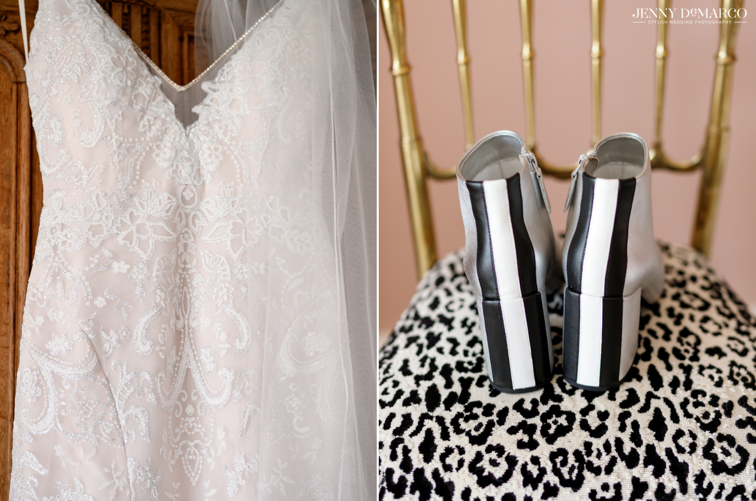 Lace wedding dress and black, white and silver bridal booties