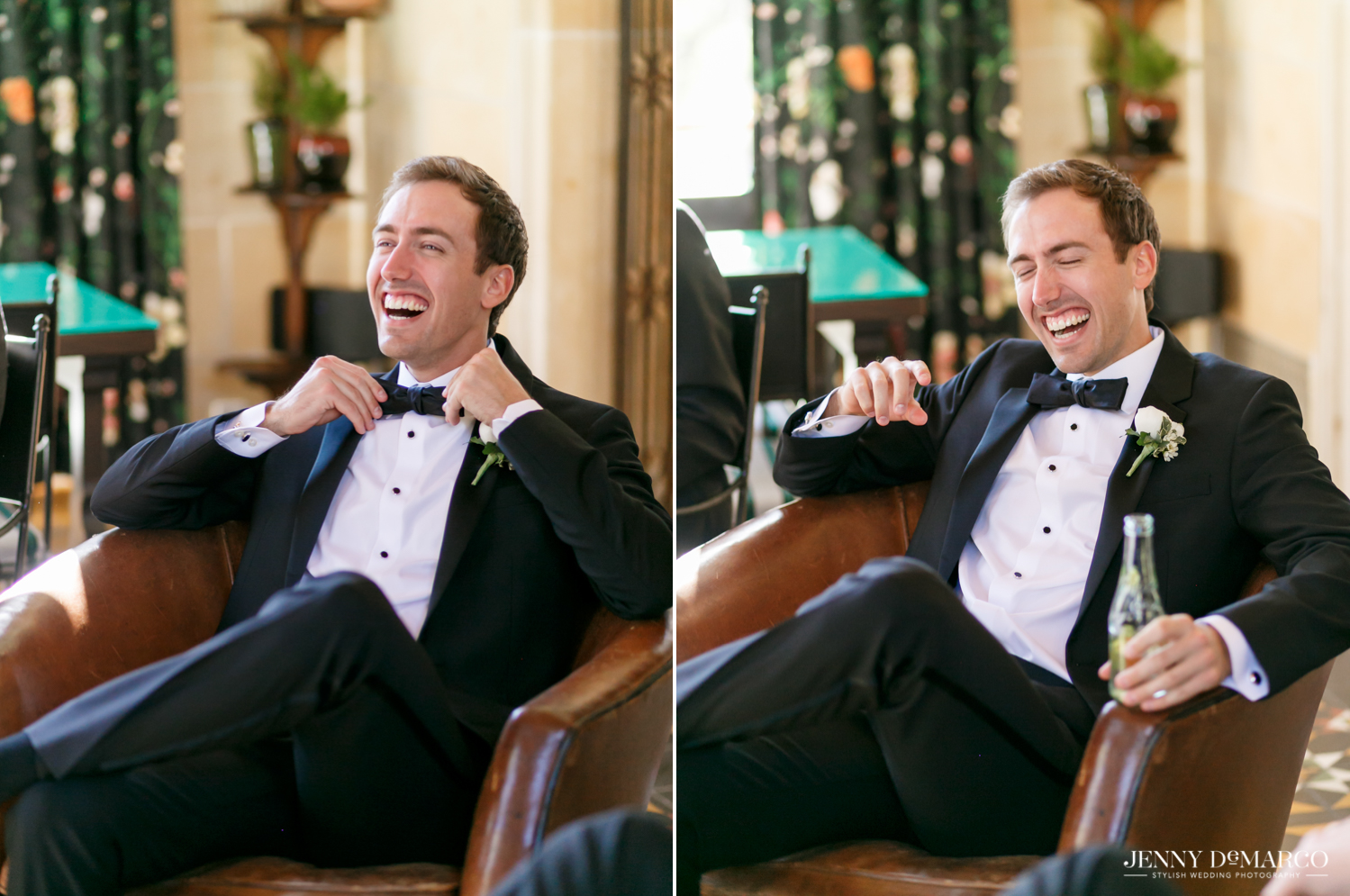 groom fixing his bow tie and laughing while drinking topo chico