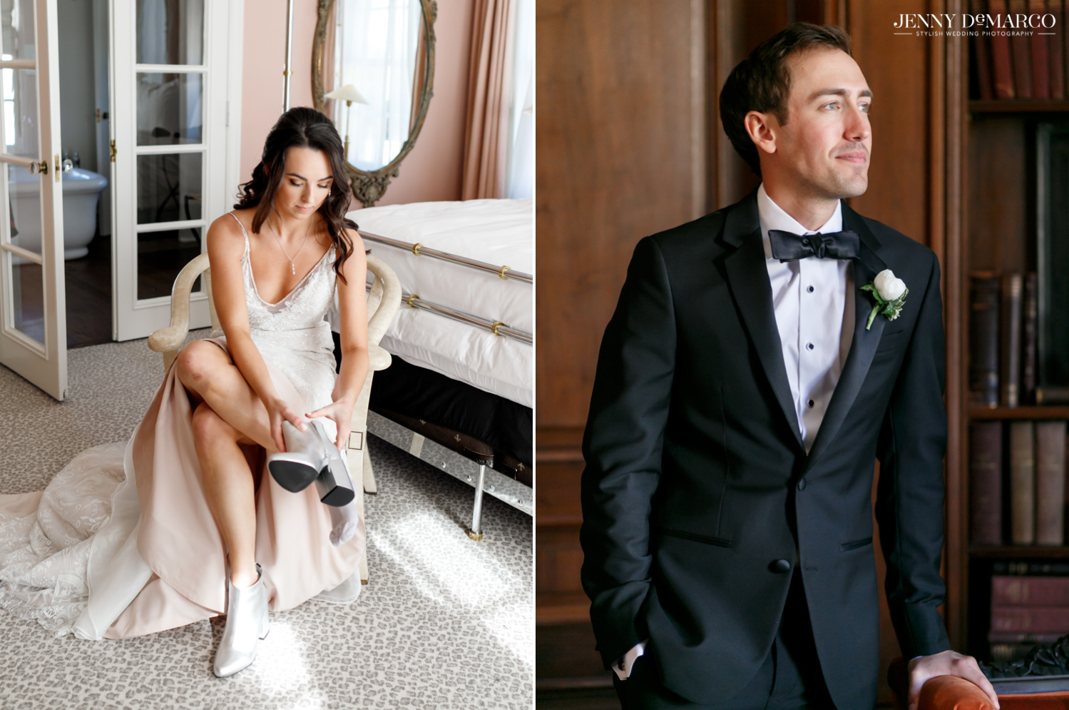 bride putting on her shoes and groom smiling