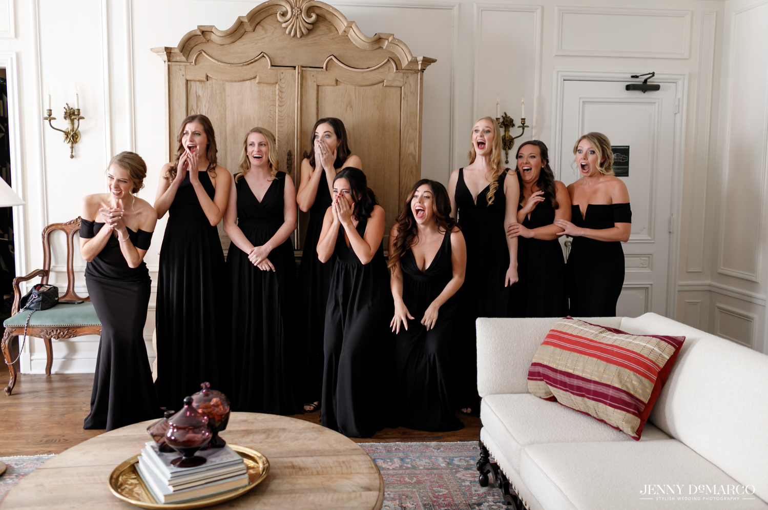 bridesmaids reactions to seeing the bride in her dress