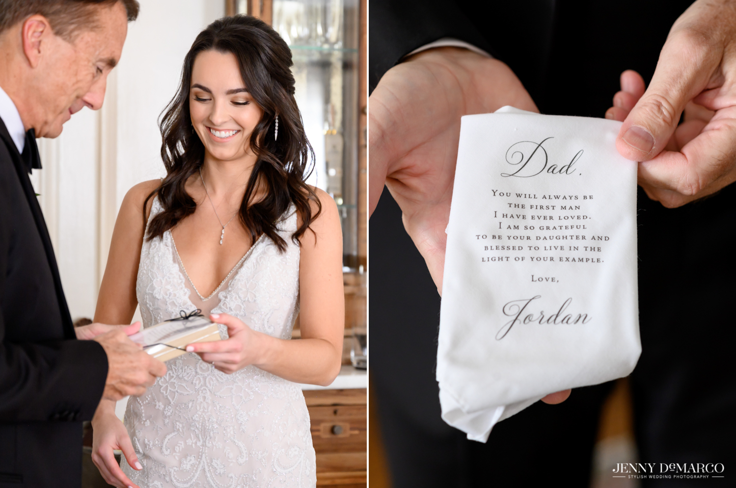 bride giving her father a handkerchief with a personalized note