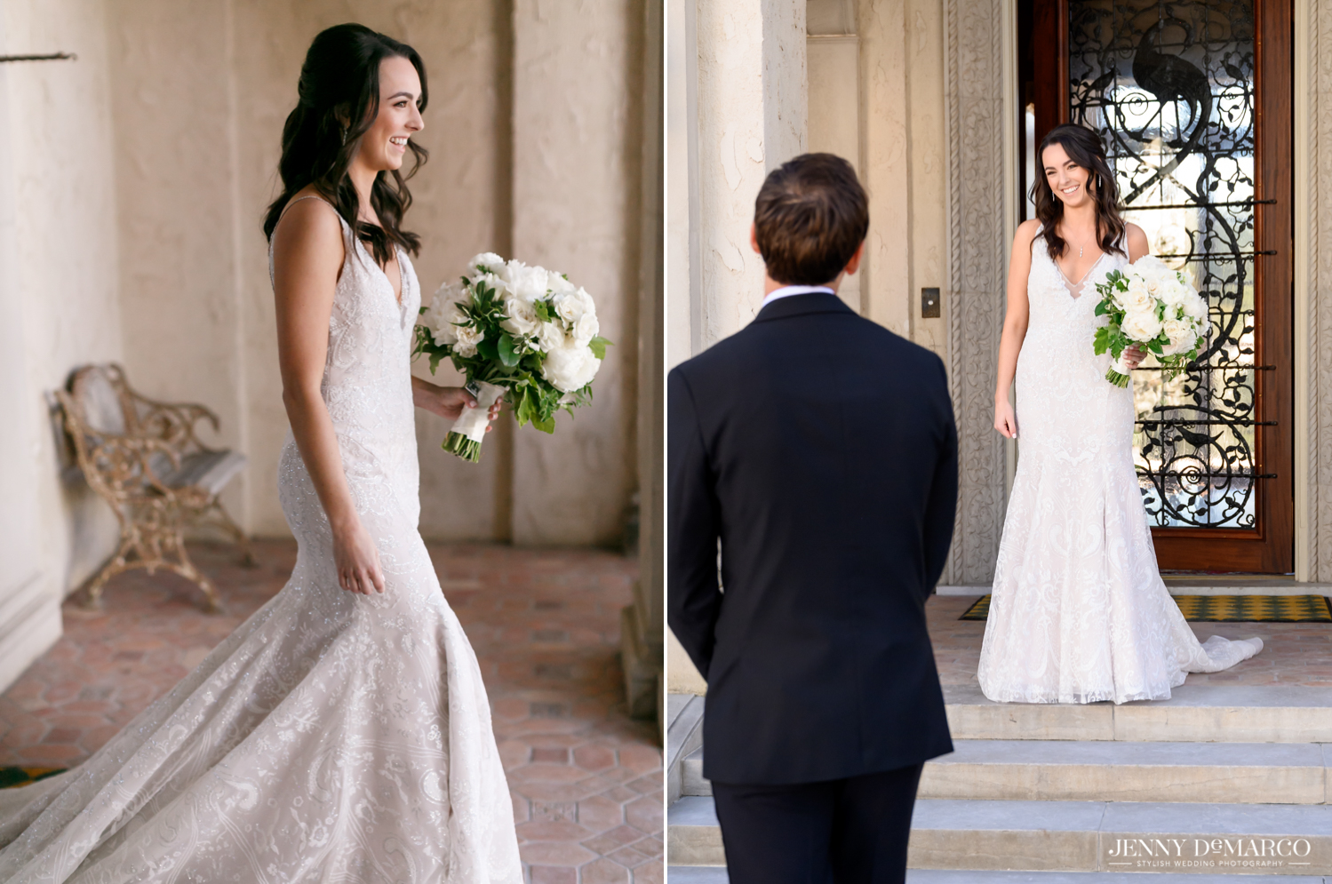 bride holding her white floral bouquet and bride walking out to see her groom for the first time
