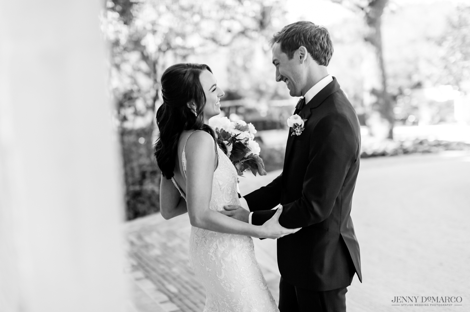 bride and groom embracing as they see each other for the first time on their wedding day