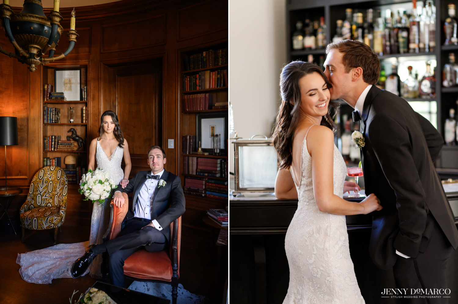 bride and groom posing in the mansion library and groom kissing the brides temple at the bar in commodore perry