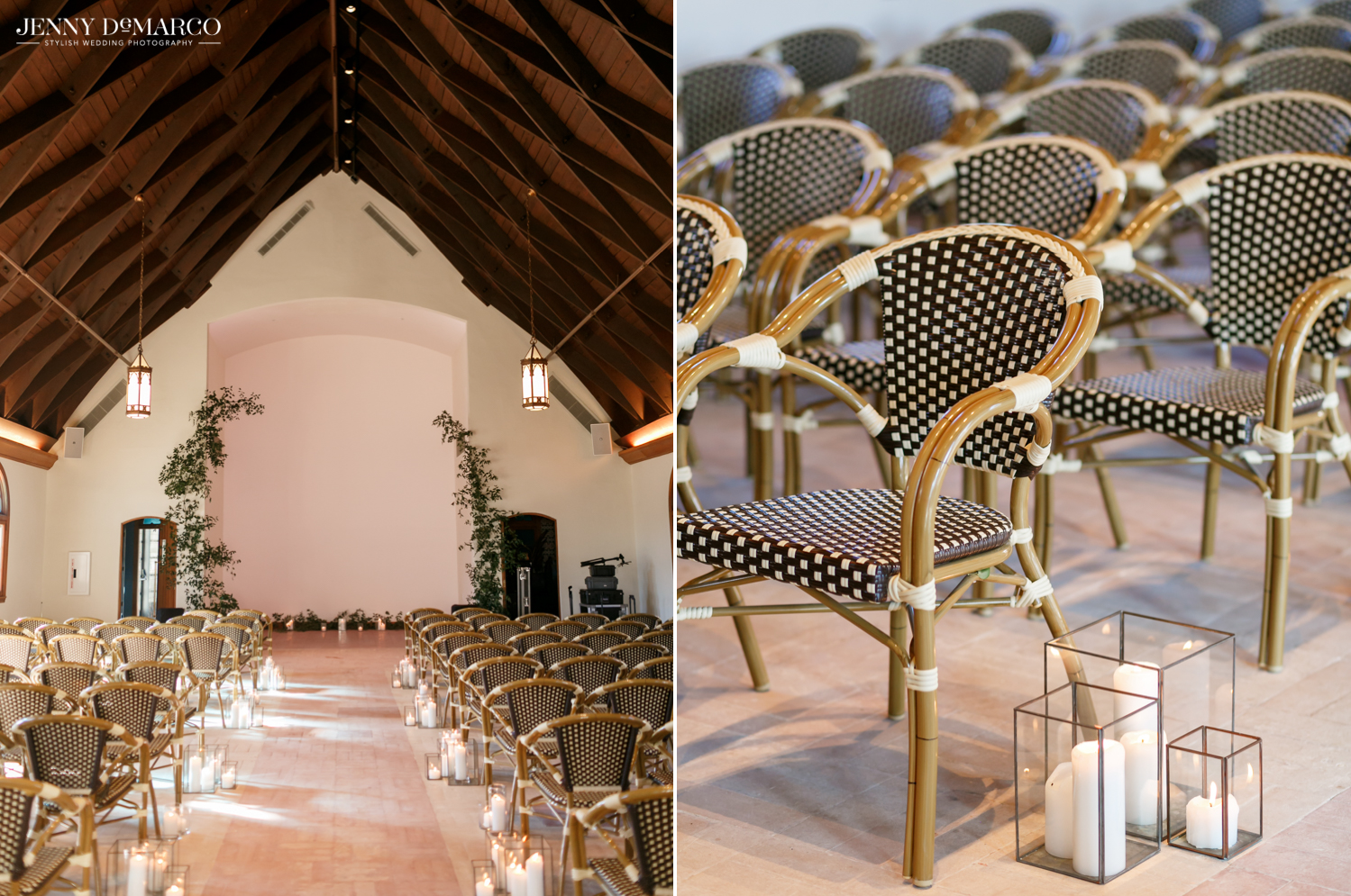 black and white rattan chairs and the ceremony venue at the commodore perry hotel