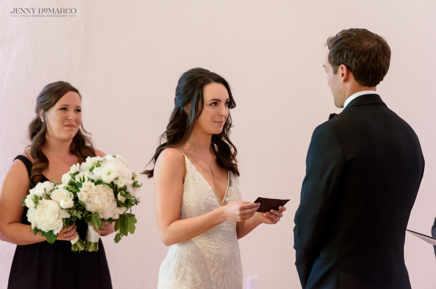 bride reading her vows to her groom