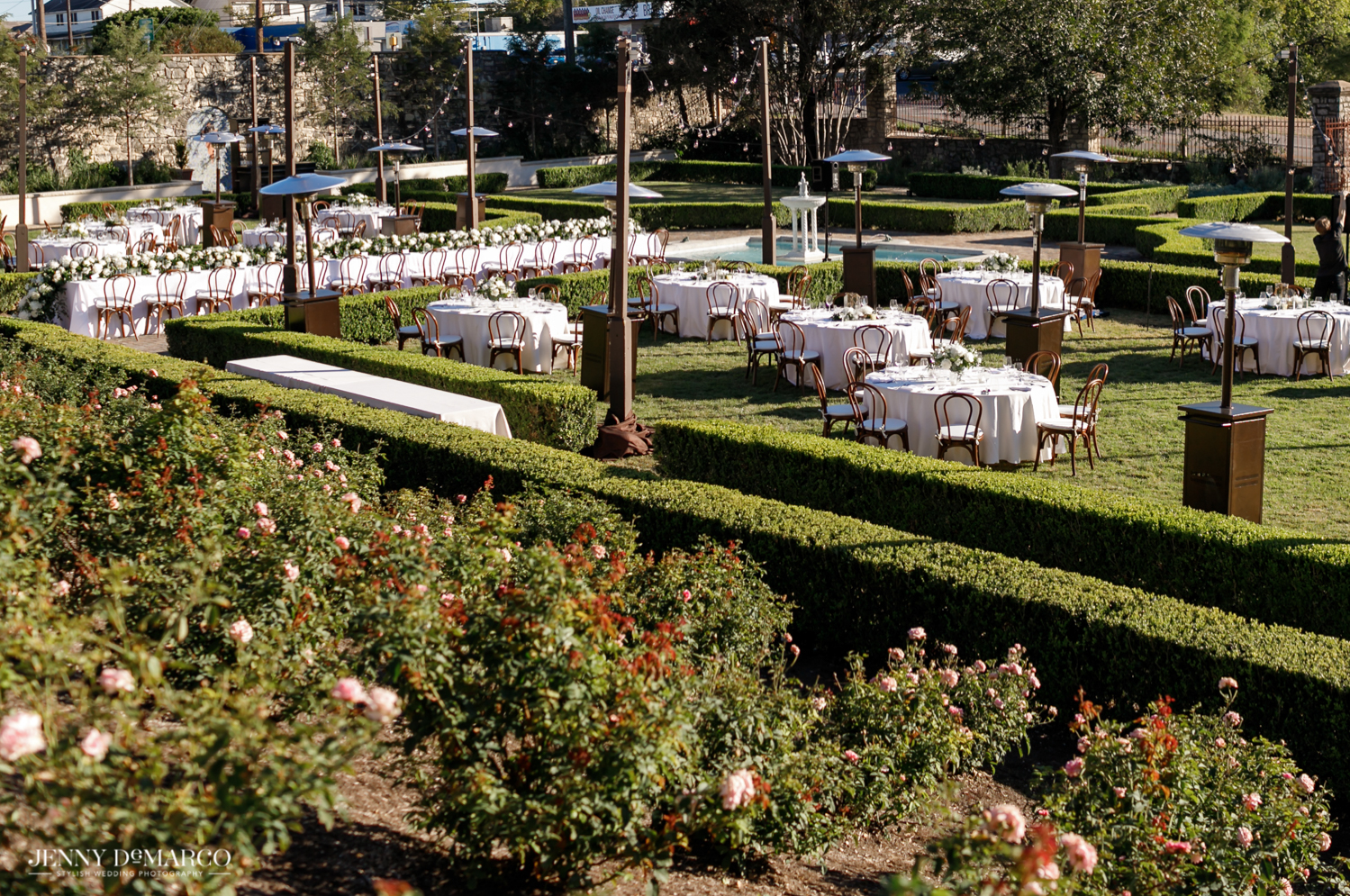 wedding reception in the sunken gardens at the commodore perry hotel in Austin, Texas