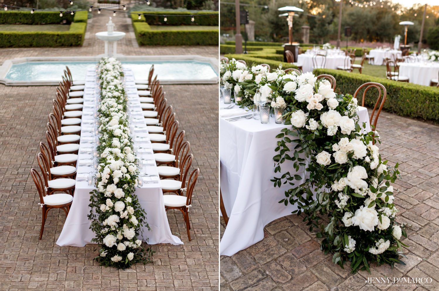 White florals mixed with greenery to create the table centerpiece