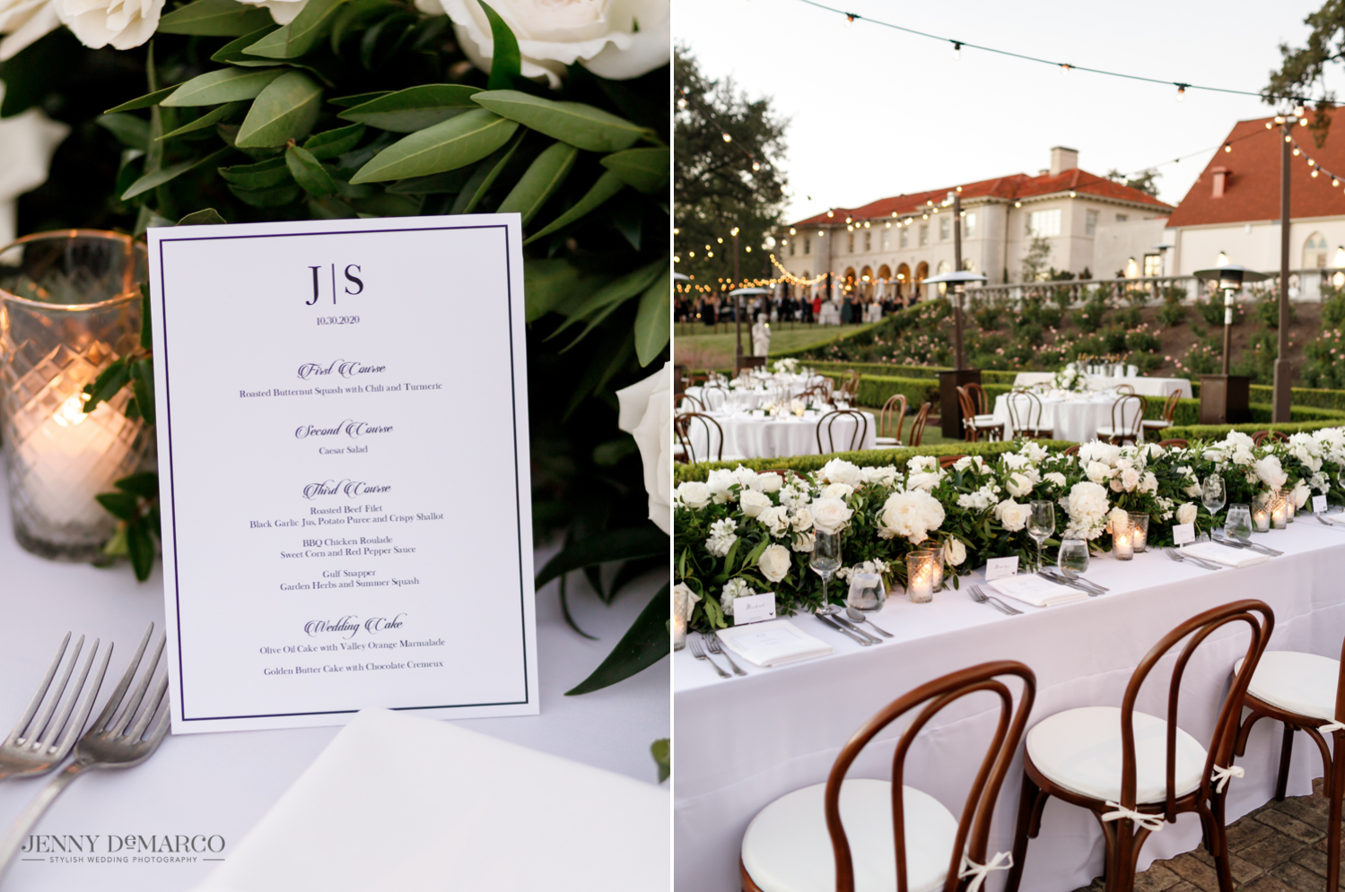 Wedding reception menu and elegant dinner set up in the sunken garden at the Commodore Perry Hotel in Austin, Texas