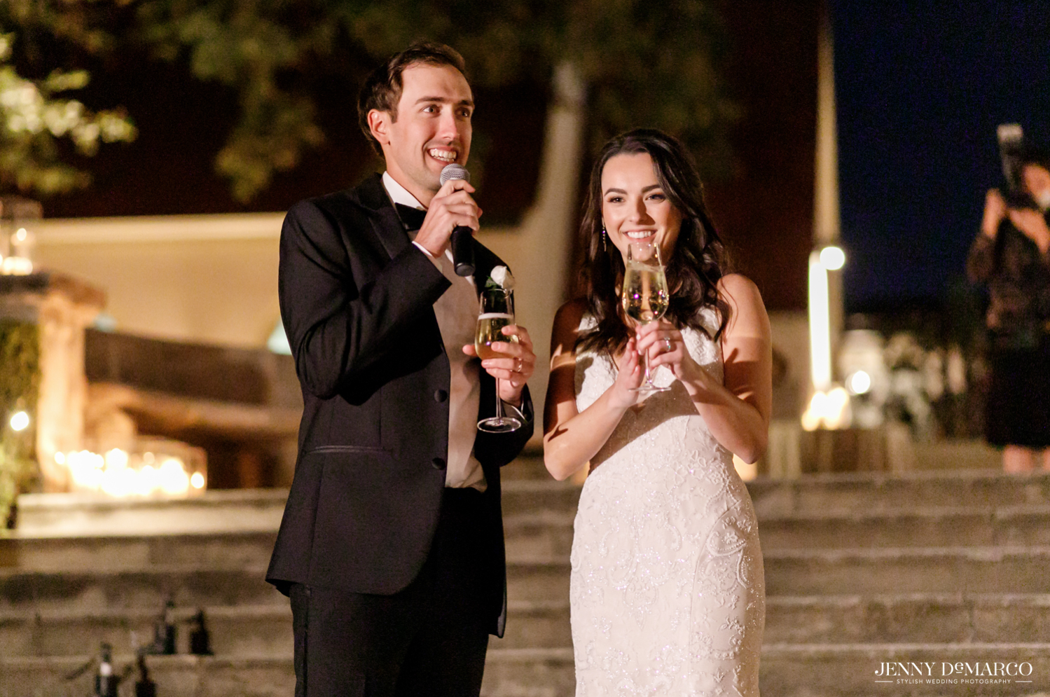 bride and groom drinking champagne and toasting