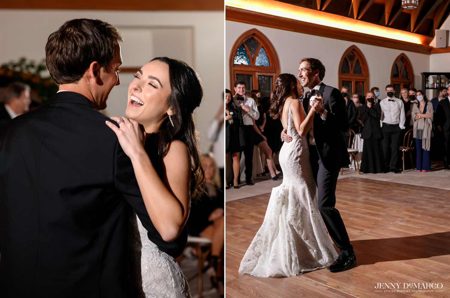 bride and groom laughing during their first dance together