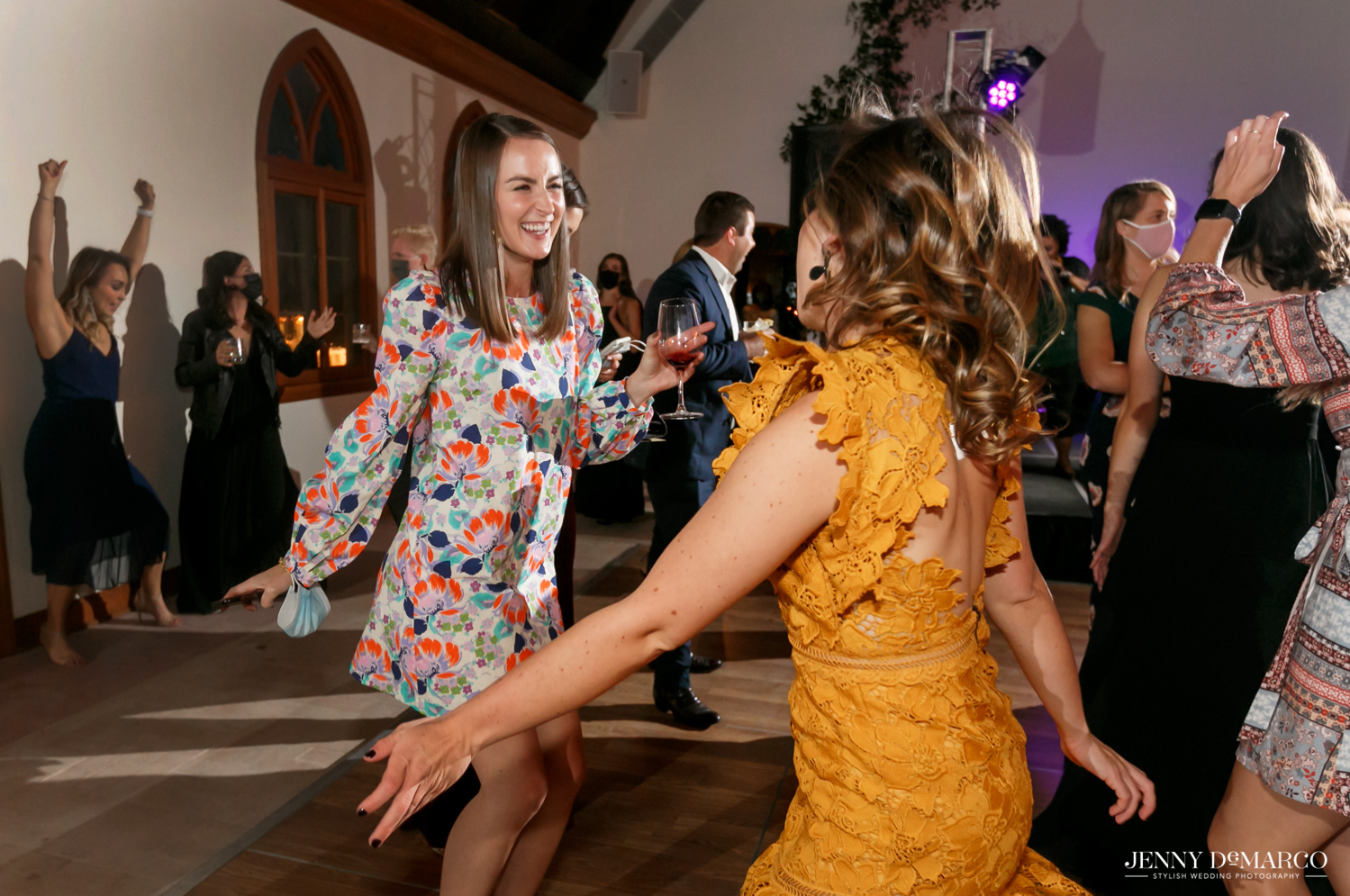 guests dancing and enjoying the wedding celebration