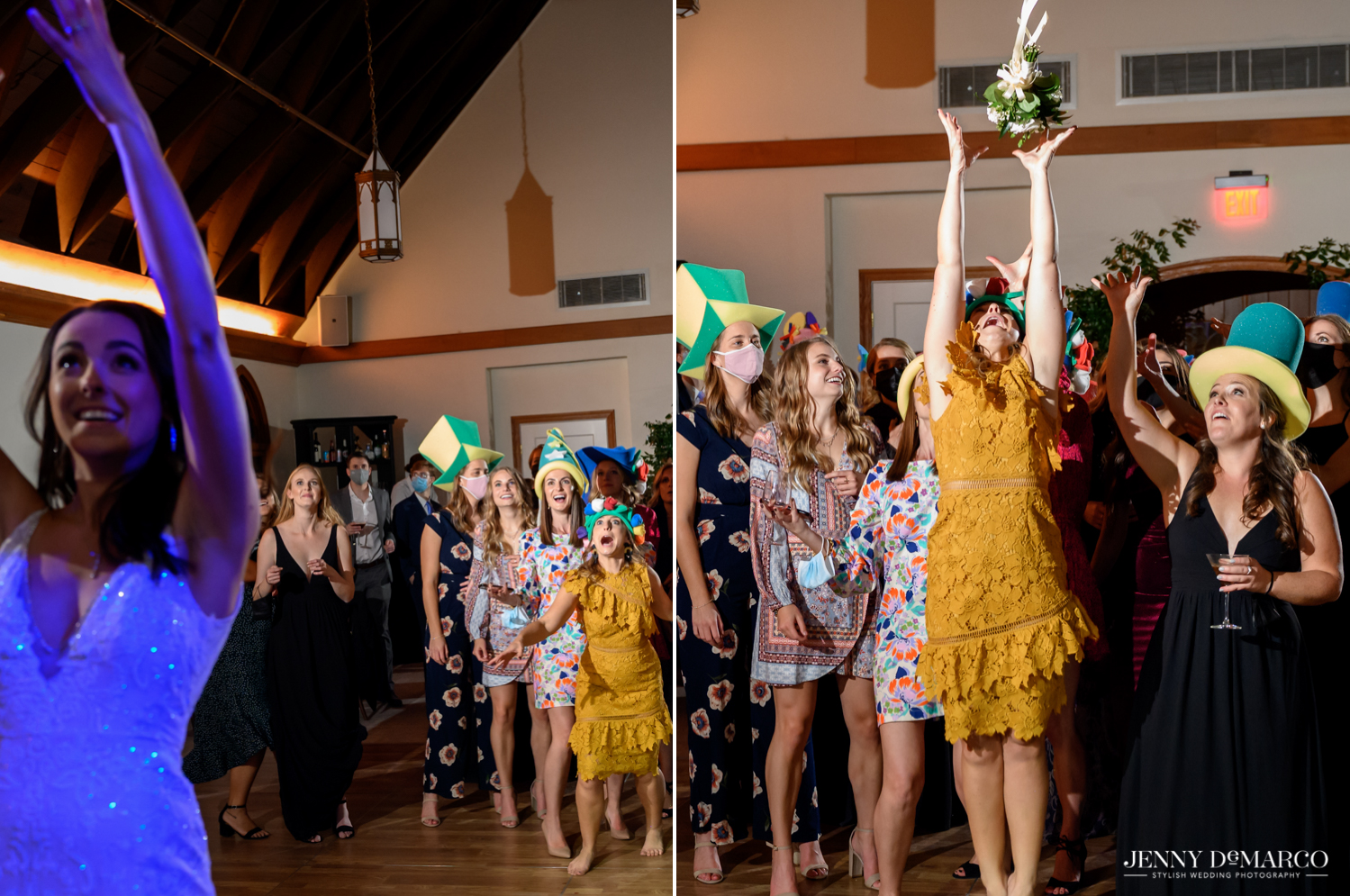 bride throwing her bouquet and all of the ladies eagerly jumping to catch it