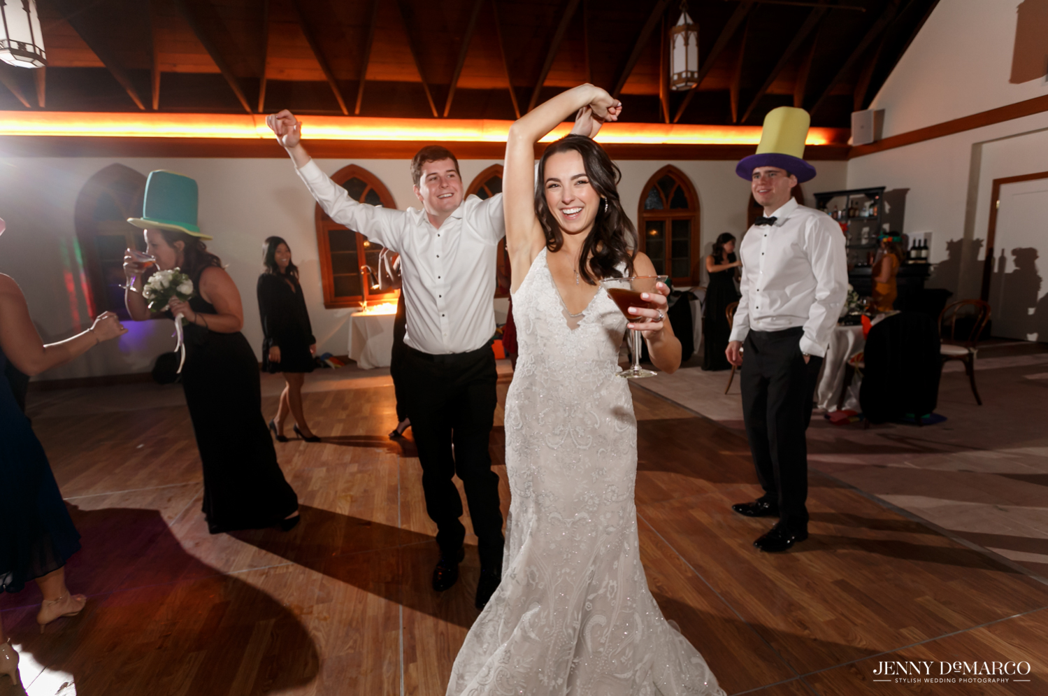 bride dancing and enjoying the wedding after party