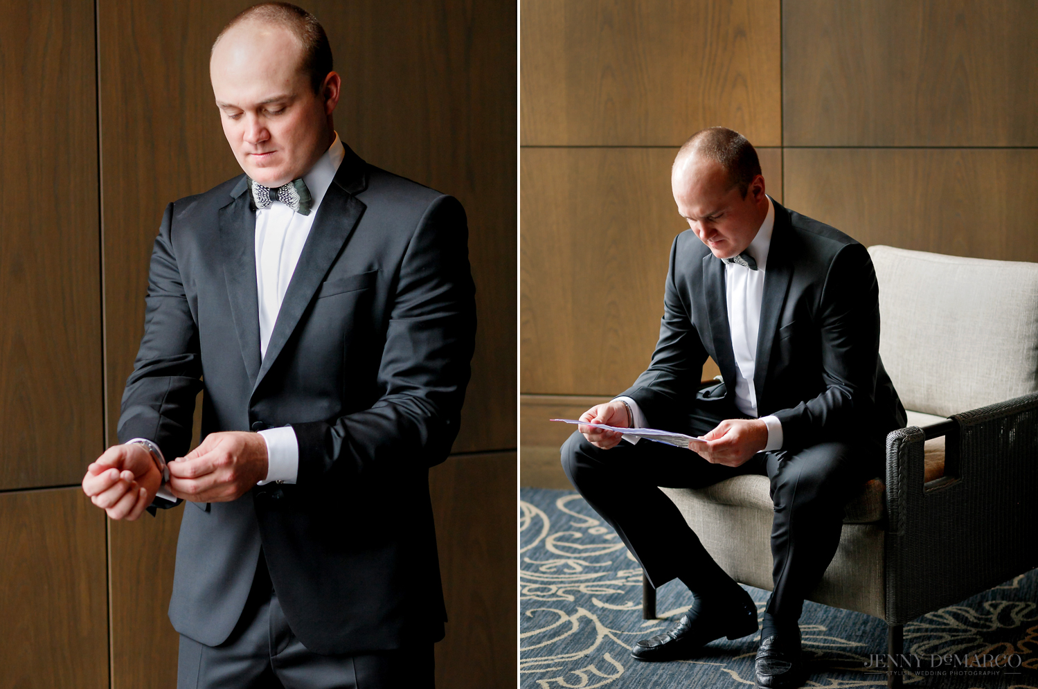 Groom reviews his speech and prepares cuff links before saying I do