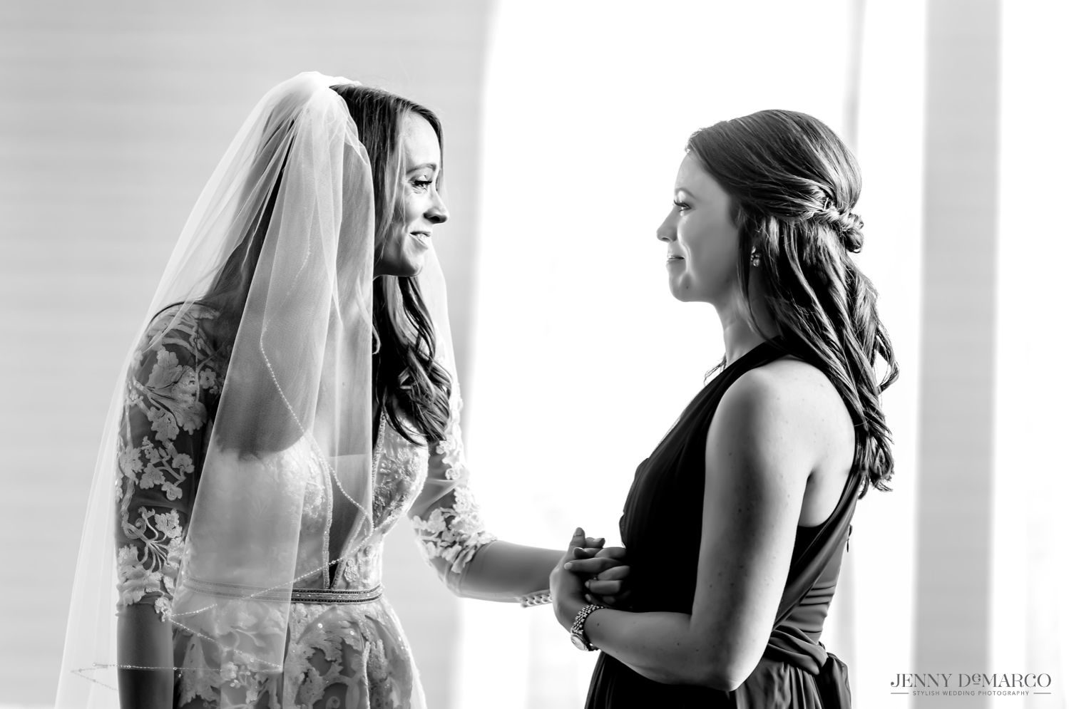 Bride and sister share a special moment before wedding
