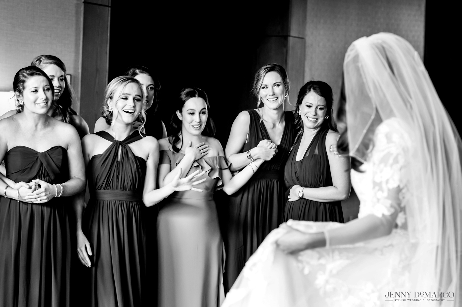 Bridesmaids in adore Bride in wedding dress