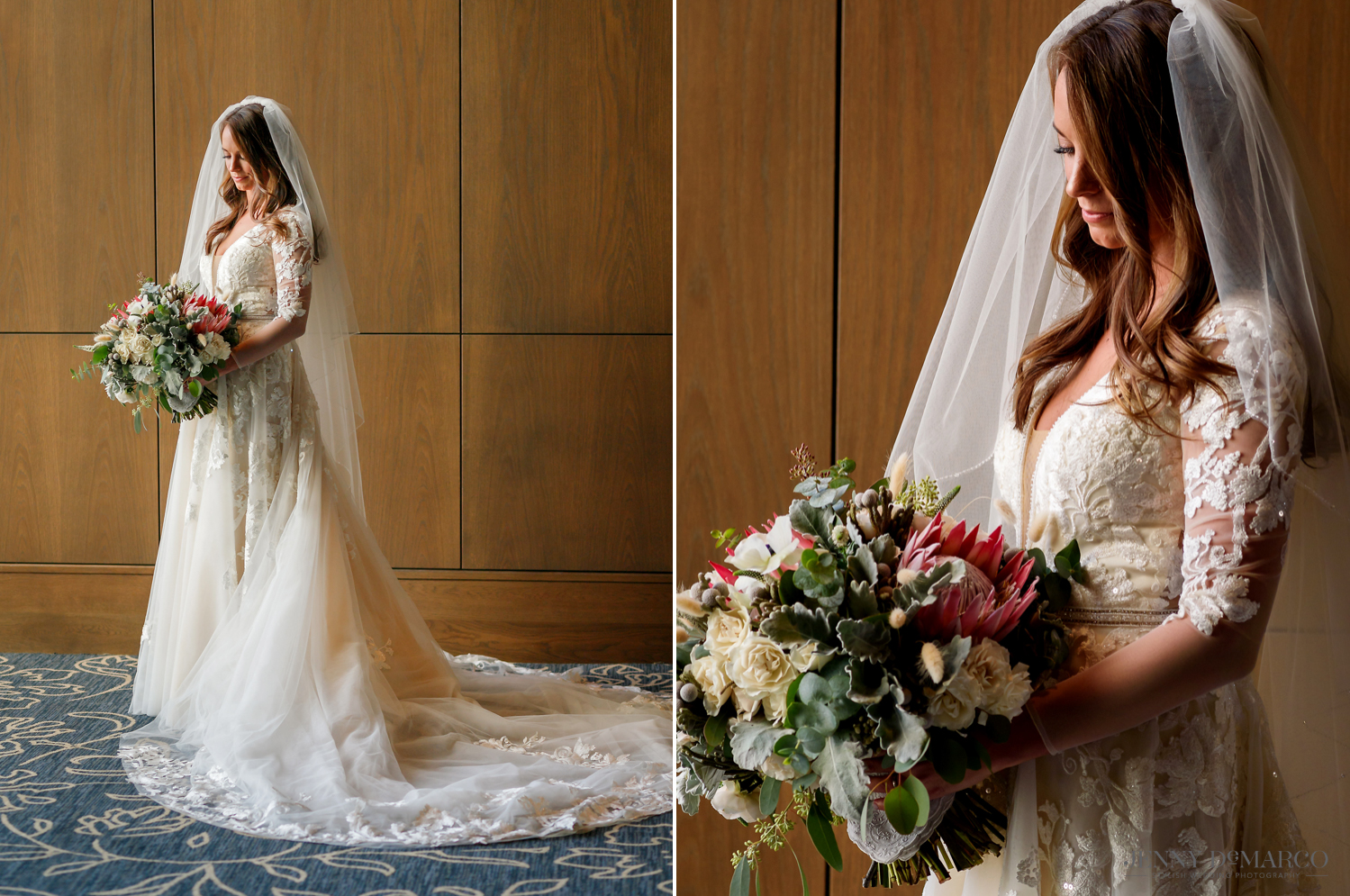 Bride holding flower bouquet in wedding dress
