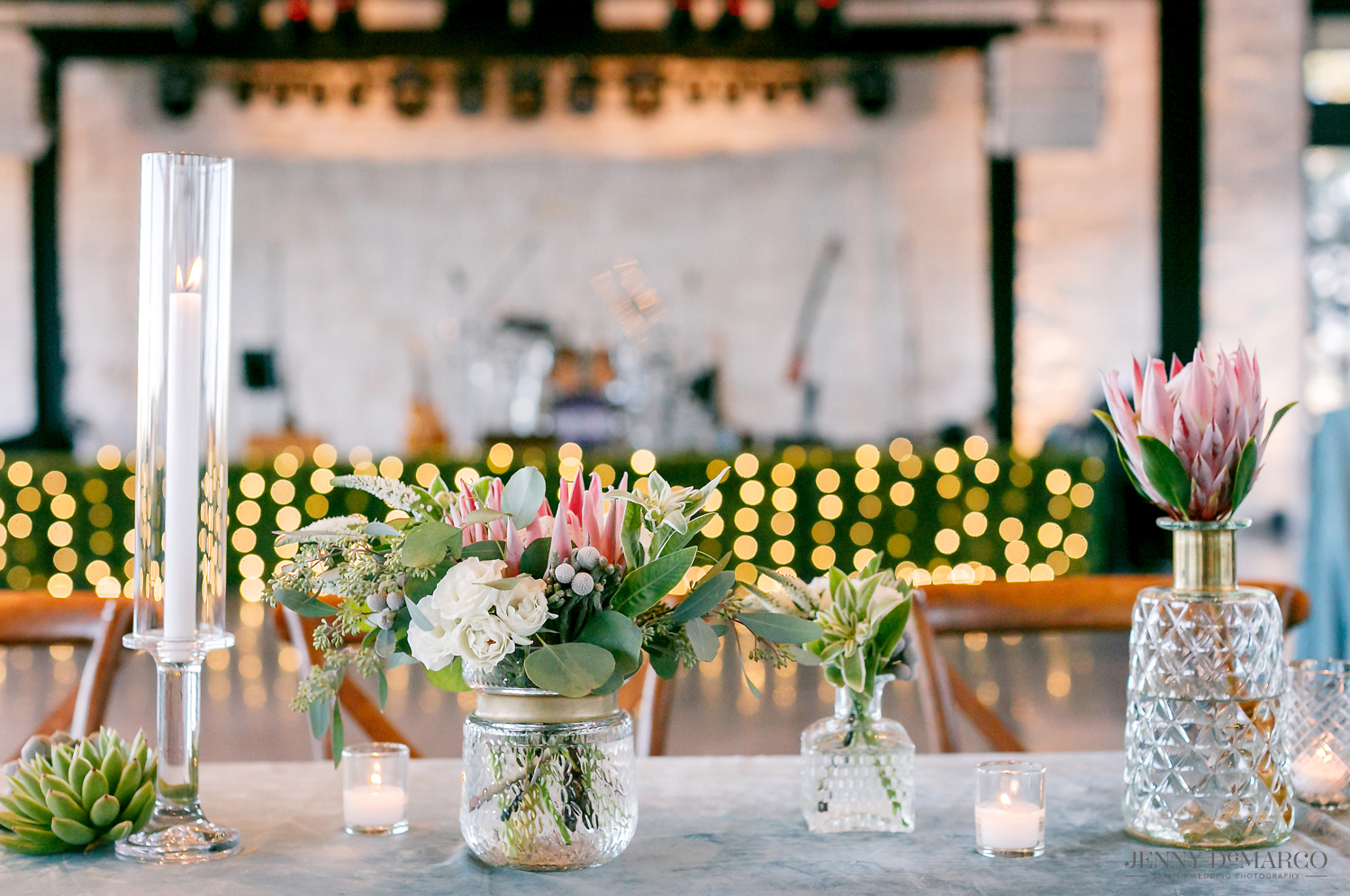 wedding reception candle arrangements