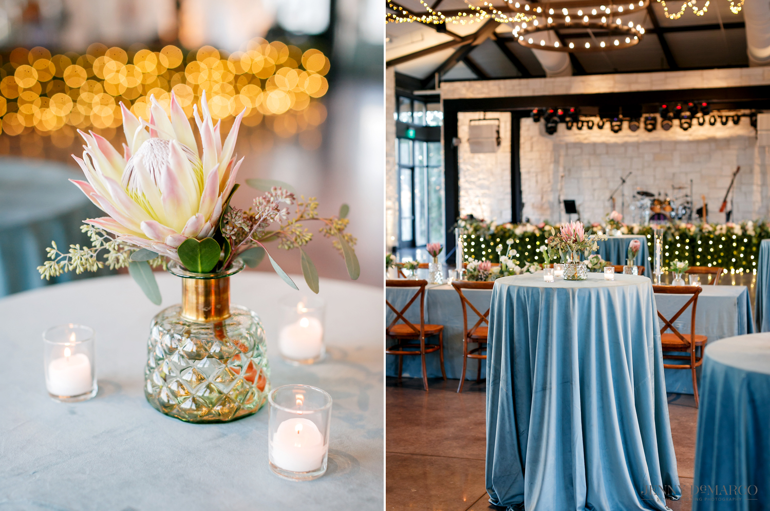 Blue and white wedding reception table decorations