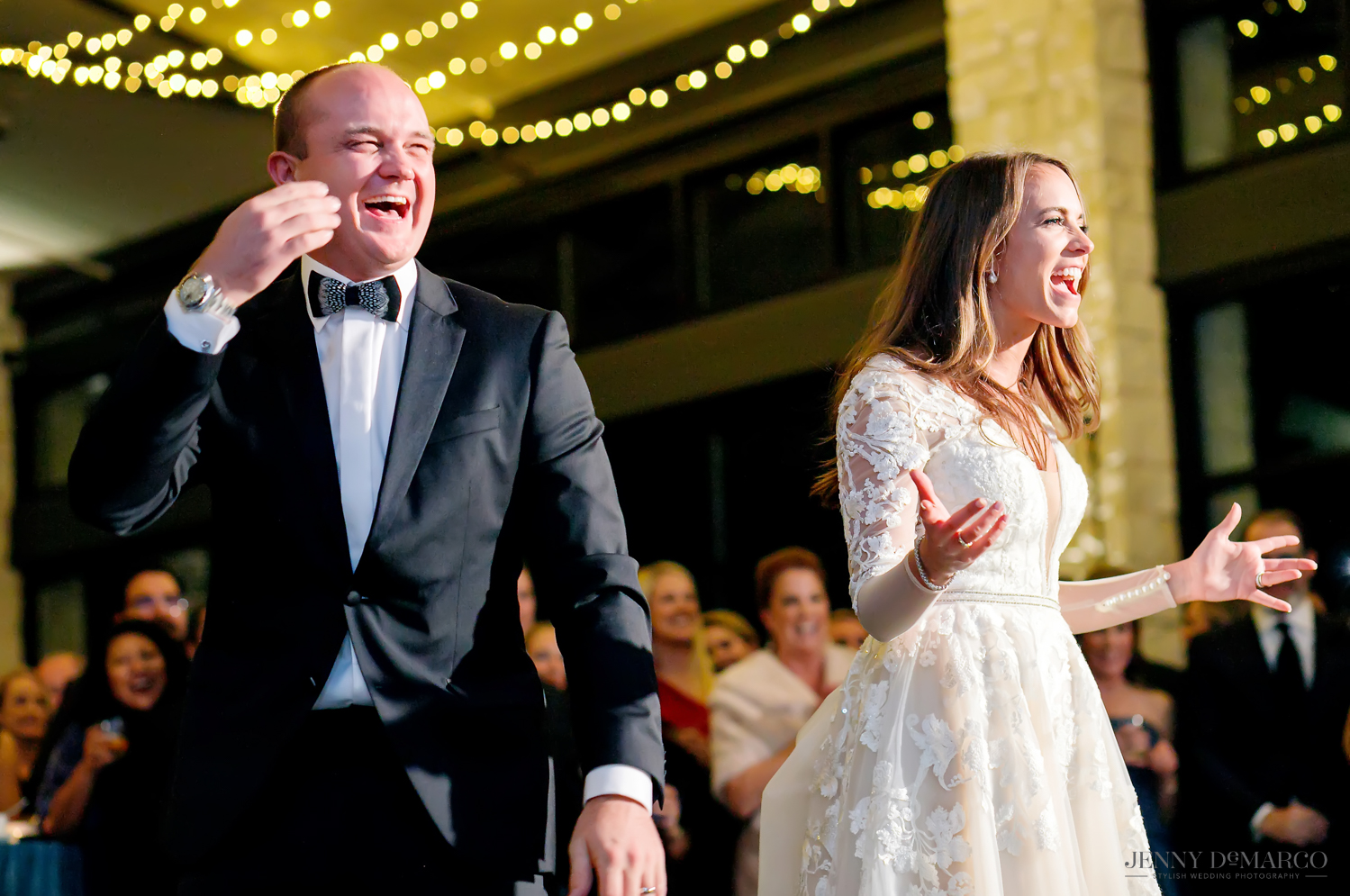 Bride and groom react to wedding surprise