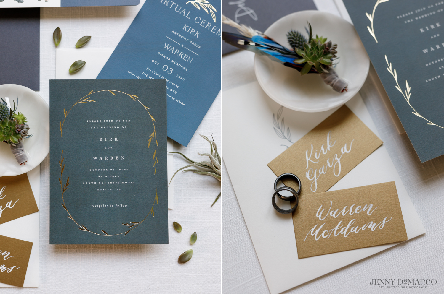 Left: staged wedding stationary; Right: staged name cards with grooms' rings