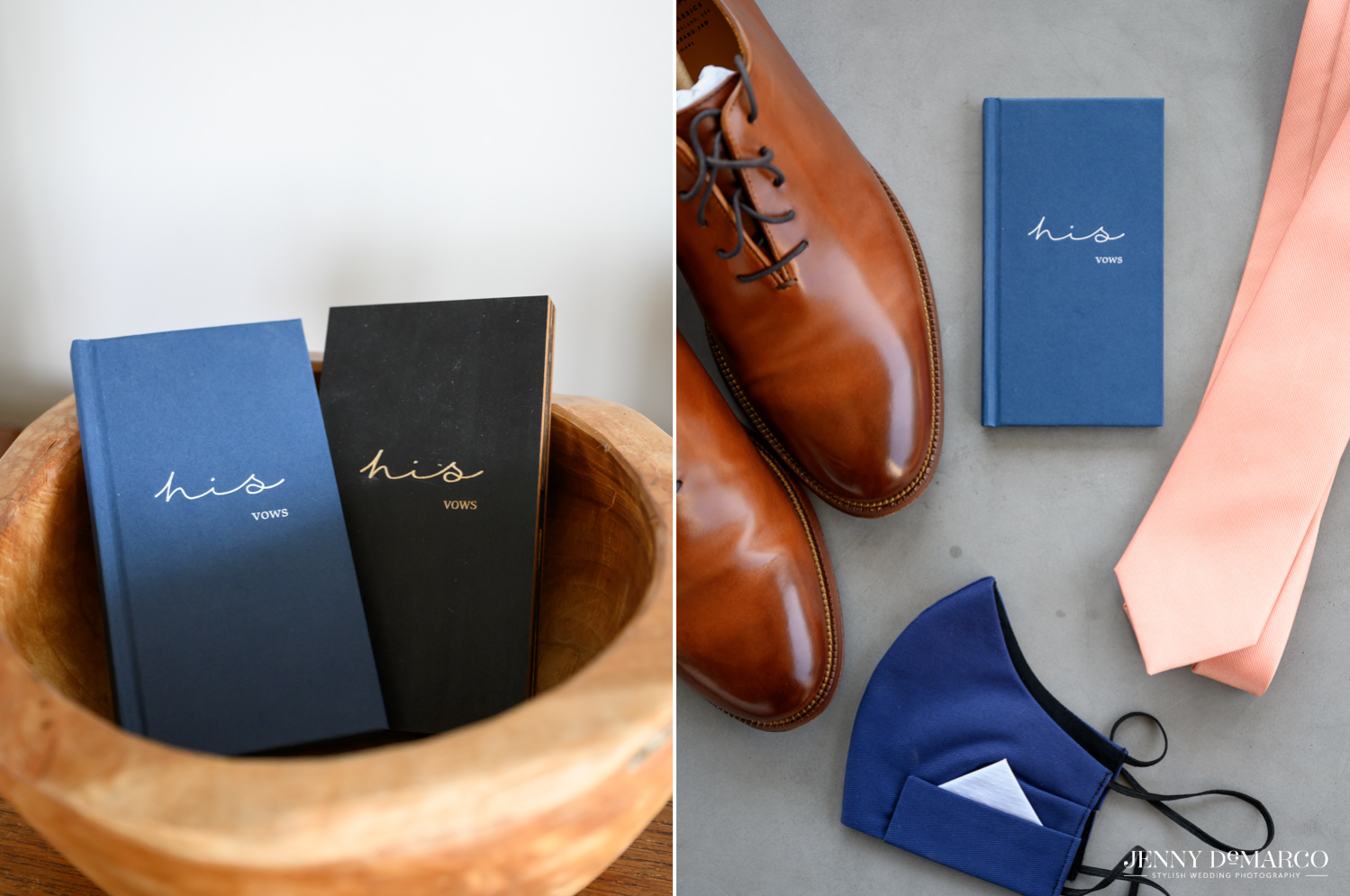 Left: blue and black vow books in wooden bowl; Right: groom's shoes, mask, tie, and vow book