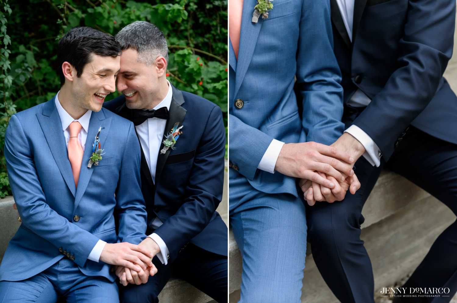 Left: Grooms holding hands and laughing; Right: close up of grooms holding hands